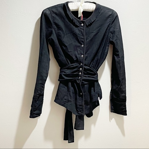 ANA NONZA Black Semi Sheer Button Up Belted Blouse